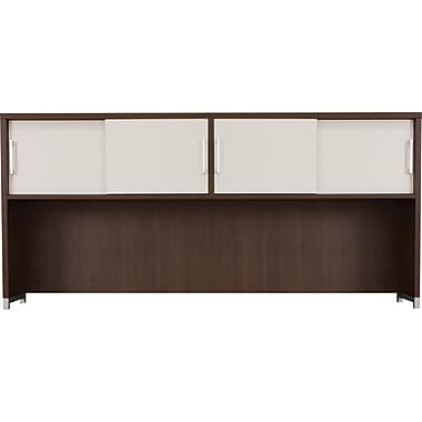 Regency OneDesk Collection Hutch with Sliding Doors, Java/White Finish (ONHD7133JV)