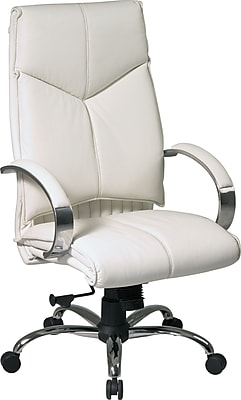 Office Star Leather Executive Office Chair, Fixed Arms, White/Chrome (7270)