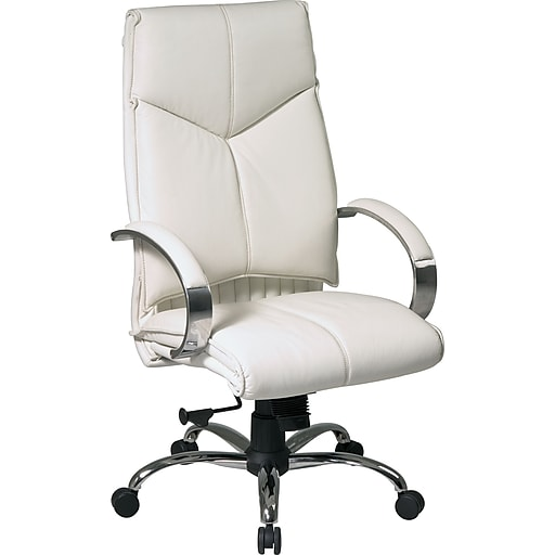 Office Star® Leather Executive High-Back Chair, White and Chrome