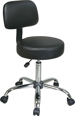 Office Star™ Faux Leather Stool with Back, Black and Chrome