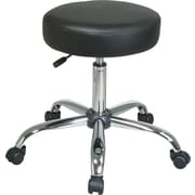 Office Star™ Faux Leather Backless Stool, Black and Chrome