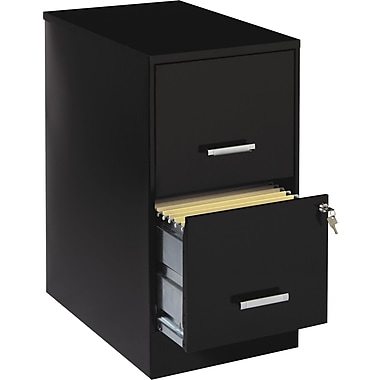 Office Designs 2 Drawer Vertical File Cabinet, Black, Letter, 22