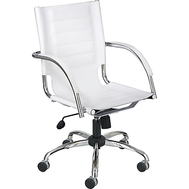Safco Flaunt Leather Managers Office Chair, Fixed Arms, White (3456WH)