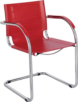 Safco® Flaunt™ Leather Guest Chair, Red