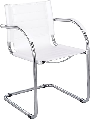 Safco® Flaunt™ Leather Guest Chair, White