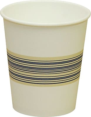 Boardwalk Paper Hot Cups, 10 oz., Blue & Tan, 20 Bags of 50, 1000/Ct 150044