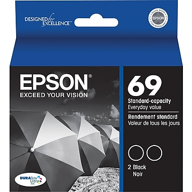 Epson® 69 (T069120-D2) Black Ink Cartridges, Twin Pack