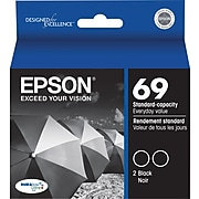 Epson 69 Black Standard Yield Ink Cartridge, 2/Pack