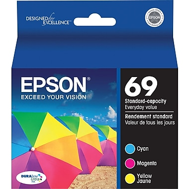 Epson 69 Color C/M/Y Ink Cartridges (T069520), Combo 3/Pack