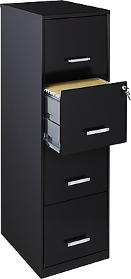 Office Designs 4 Drawer Vertical File Cabinet, Black, Letter Size, 18