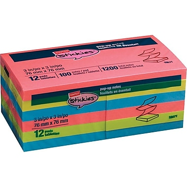 Staples® Stickies Brights Pop Up Notes, 3