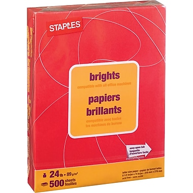 Staples® – Papier à copies de couleur Brights, format lettre, 8 1/2 po x 11