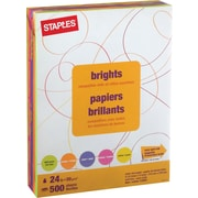 "Staples Brights Fluorescent Coloured Copy Paper, Letter, 8-1/2"" x 11"", Assorted Colours, Ream"