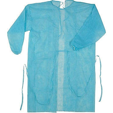 Isolation Gown, Spun-Bonded Polypropylene, Blue, 50/Box