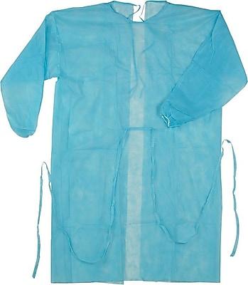 Isolation Gown, Spun-Bonded Polypropylene, Blue, 50/Box