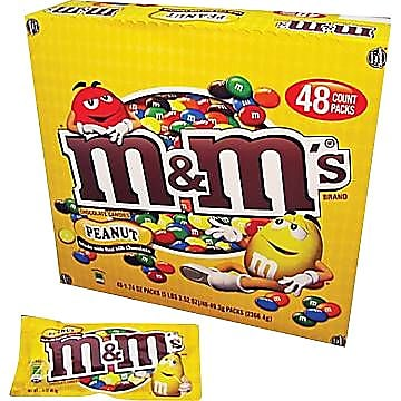 M&M's® Peanut Candy, 1.74 oz. Bags, 48 Bags/Box (MMM01232)
