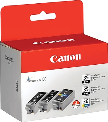 Canon® PGI-35/CLI-36 2 Black/1 Color Inkjet Cartridges, Multi-pack (3 cart per pack)