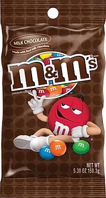 M&M's® Milk Chocolate Candies Peg Bag, 5.3 oz. Bags, 12 Bags/Box
