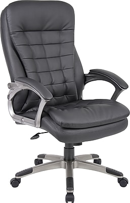 Boss Caressoft Fabric Executive Office Chair, Fixed Arms, Black (B9331)