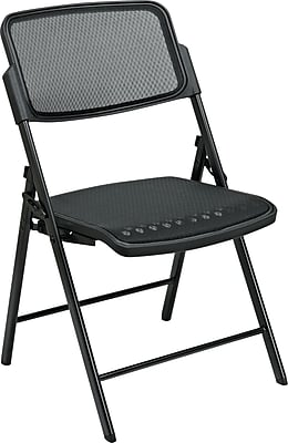 Office Star™ ProGrid™ Folding Chairs, Black with Black Frame, 2/Pack