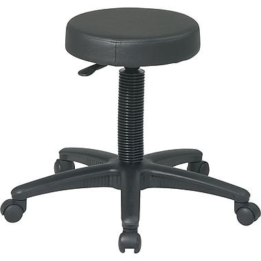 Office Star™ Intermediate Faux Leather Backless Stool, Black