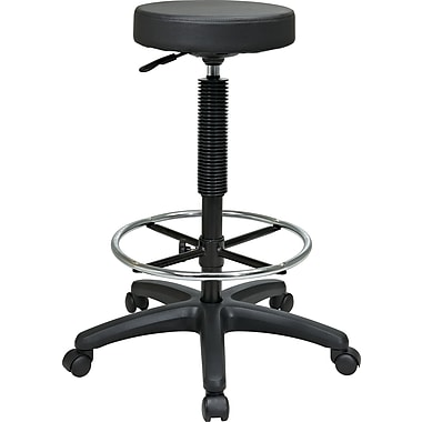 Office Star™ Intermediate Faux Leather Backless Stool with Footring, Black