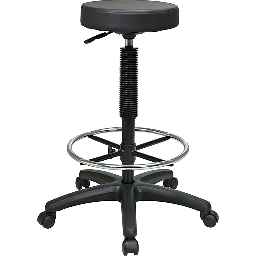 Peachy Office Star Intermediate Faux Leather Backless Stool With Footring Black Machost Co Dining Chair Design Ideas Machostcouk