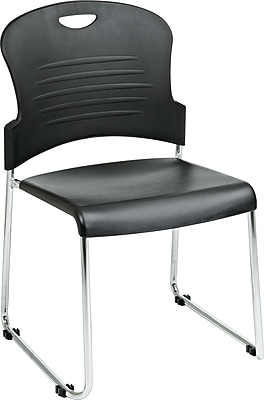 Office Star™ Sled-Base Stacking Chair, Black and Silver, 2/Pack
