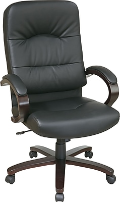 Office Star Elegant Wood Finish Series Bonded Leather Executive High-Back Chair, Black and Espresso