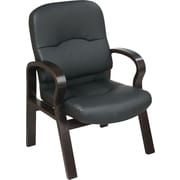 Office Star™ Elegant Wood Finish Series Bonded Leather Guest Chair, Black and Espresso
