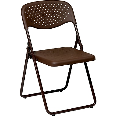 Office Star™ Ventilated Plastic Folding Chair, Espresso, 4/Pack