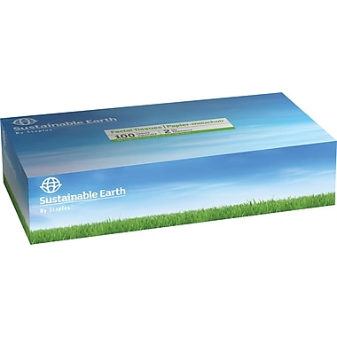 Sustainable Earth by Staples Facial Tissue, Flat Box