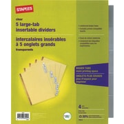 Staples Big Tab Insertable Dividers, 5-Tab, Clear, 4/Pack (14480)