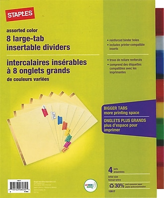Staples Big Tab Insertable Dividers, 8-Tab, Multicolored, 4/Pack (14483)