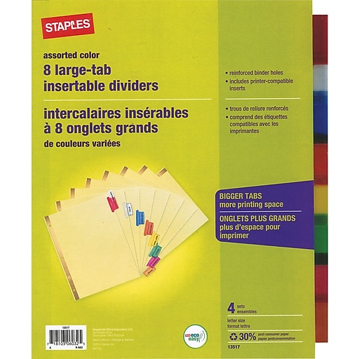 Staples Big Tab Insertable Dividers 8 Tab Muiltcolored 4pack