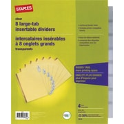 Staples Big Tab Insertable Dividers, 8-Tab, Clear, 4/Pack (13516)