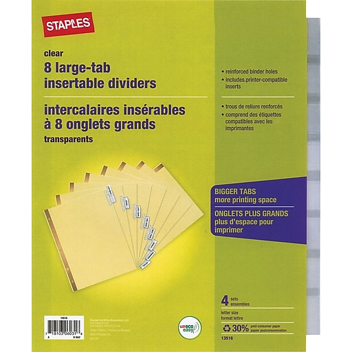 staples big tab insertable dividers 8 tab clear 4 pack 13516