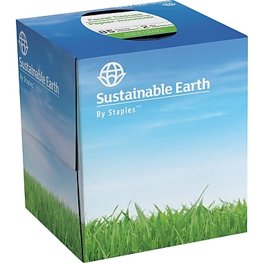 Sustainable Earth by Staples Facial Tissue, Cube Box
