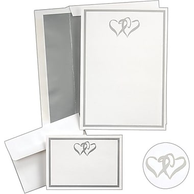 great papers silver double hearts wedding invitation kit - Wedding Invitations Staples
