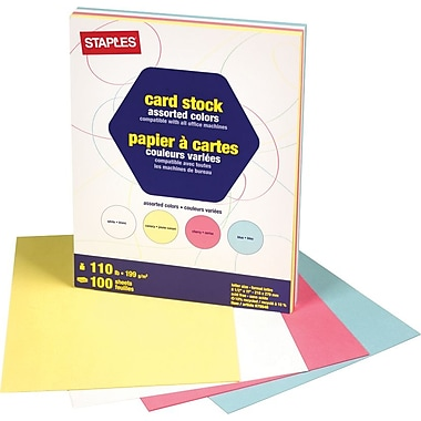 Staples Pastel Coloured Card Stock, 8-1/2