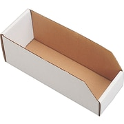 "12 (L) x 2 (W) x 4.5 (H)"" Open Top Bin Boxes, White, 50/Bundle (337-020412)"