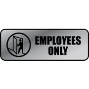 "Cosco® Brushed Metal Policy Sign, ""Employees Only"", 3"" x 9"""