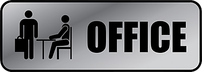 """Marking Products, Inc., Brushed Metal Policy Signs, """"Office"""", 3"""" x 9"""""""