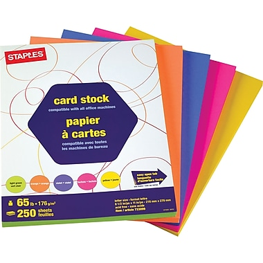 Staples® Brights Coloured Card Stock, Letter, 8-1/2