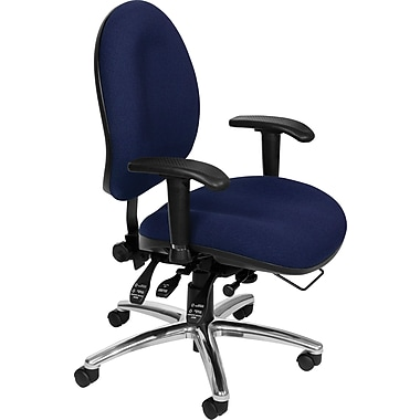 OFM 24 Hour Big & Tall Fabric Computer and Desk Office Chair, Adjustable Arms, Navy (811588013012)