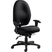 Global Stamina+ Fabric Computer and Desk Office Chair, Adjustable Arms, Black (2440TDBK-S110)