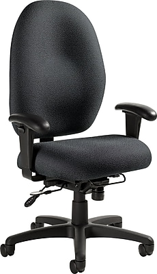 Global Stamina+ Fabric Computer and Desk Office Chair, Adjustable Arms, Graphite (2440TDBK-S111)