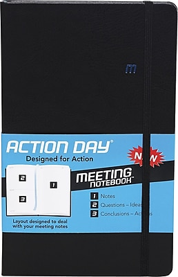 Action Day Meeting Notebook, Black, 5 1/4