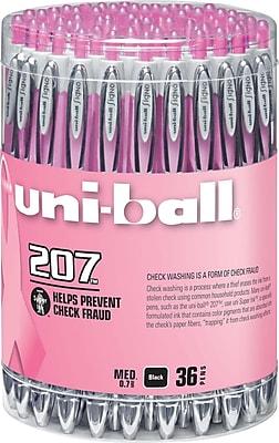uni-ball® 207 Pink Ribbon Retractable Gel Pens, Medium Point, Black, 36/pk (1747985)