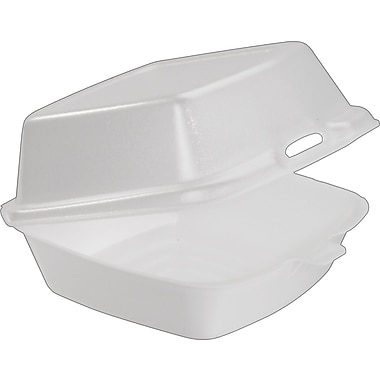 Boardwalk Snap-It Foam Hinged Lid Carryout Containers, White, 3 1/8